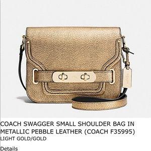 COACH SWAGGER SMALL SHOULDER BAG METALLIC PEBBLE